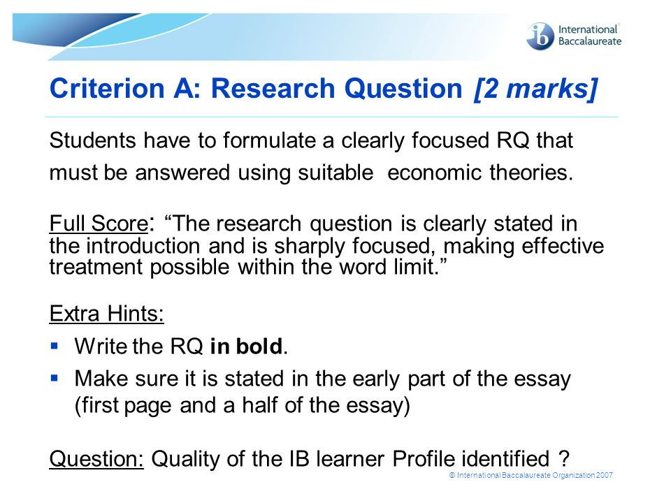 Criterion A: Research Question [2 marks]